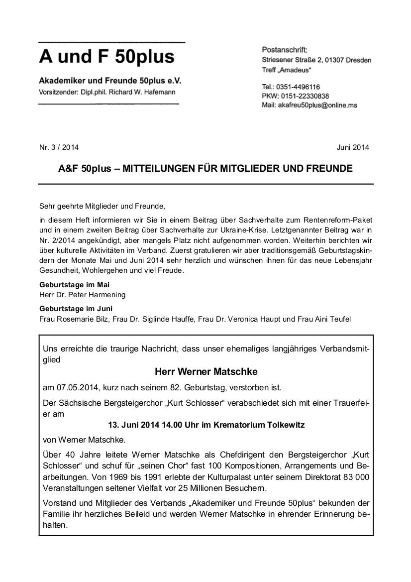 A&F-Mitteilung 3-2014