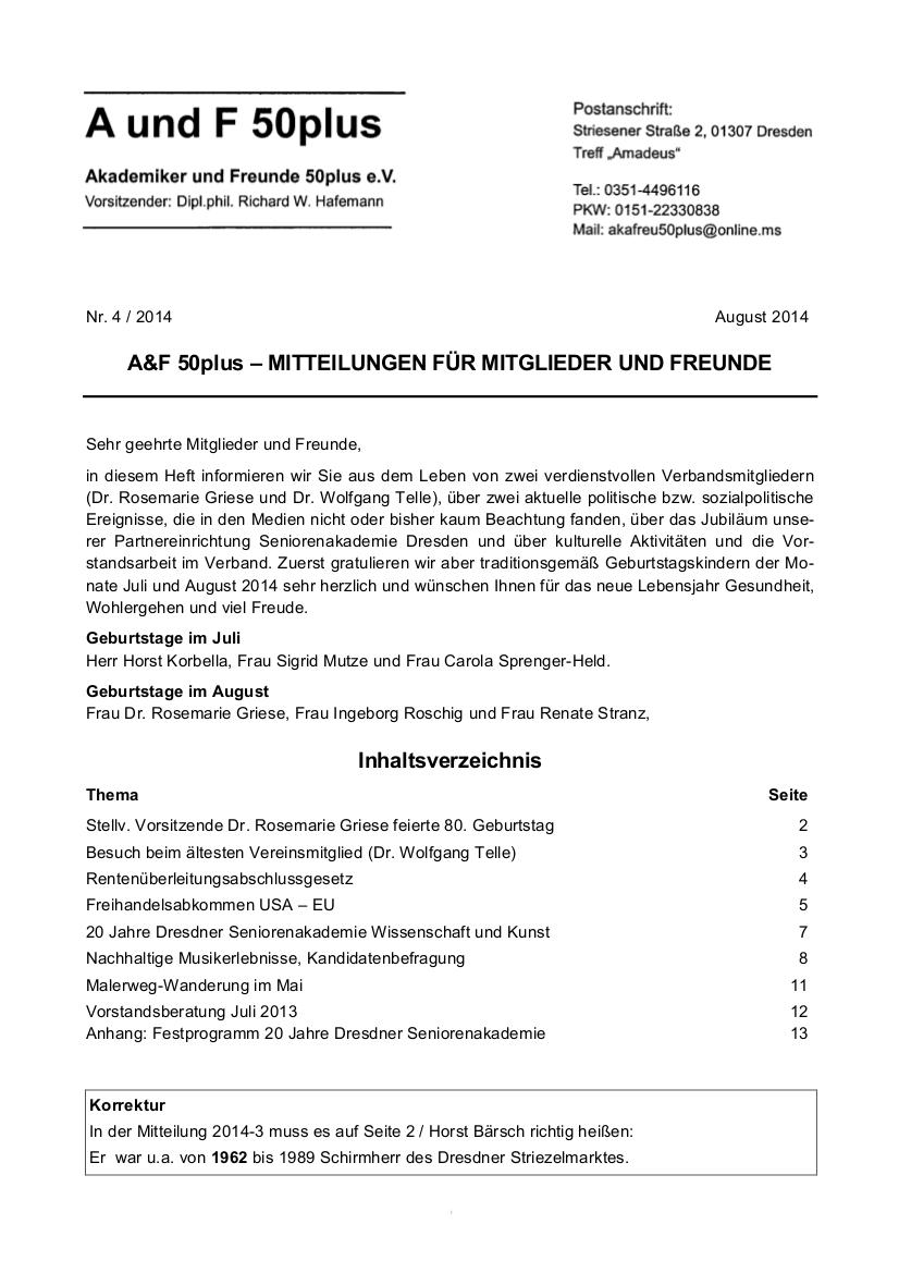 A&F-Mitteilung 4-2014