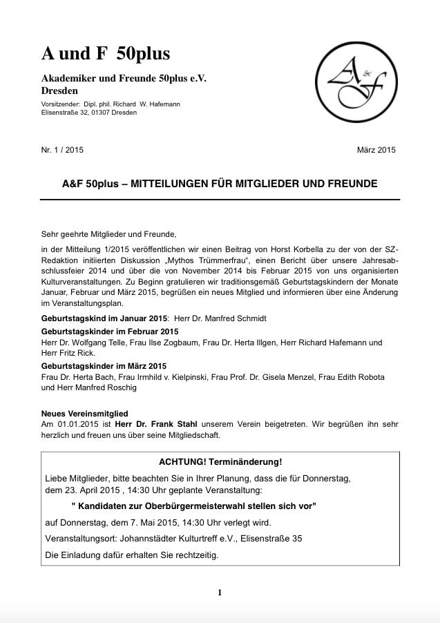 A&F-Mitteilung 1-2015
