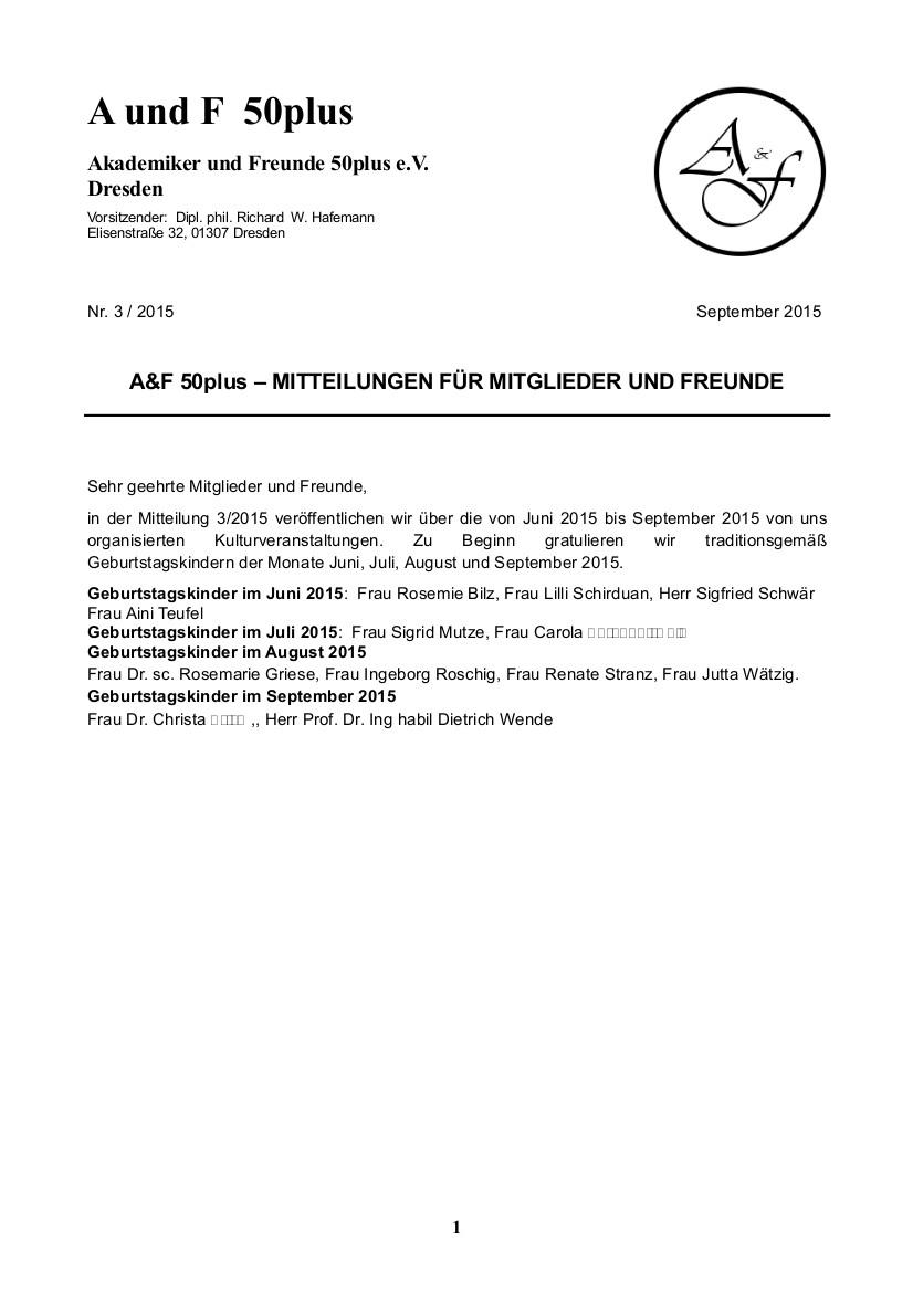 A&F-Mitteilung 3-2015