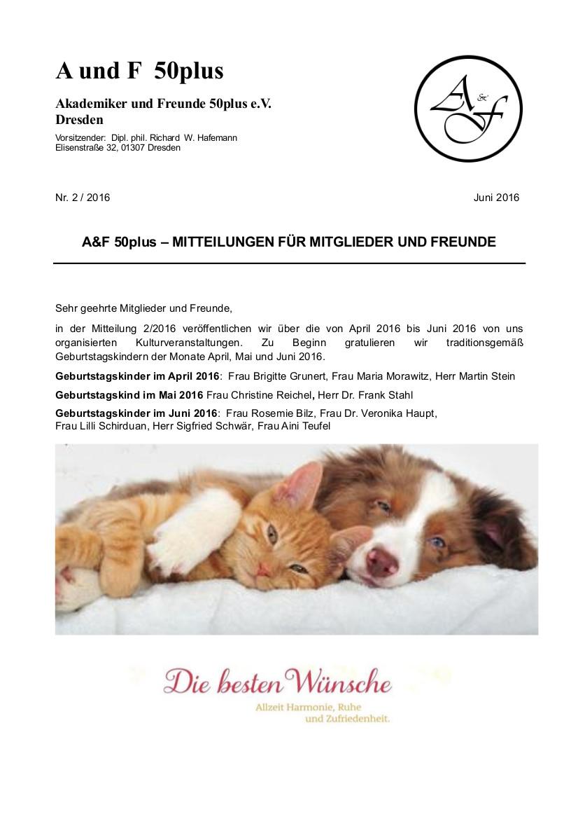 A&F-Mitteilung 2-2016