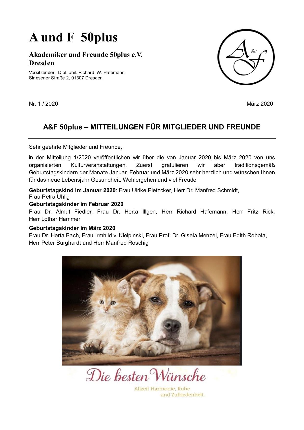 A&F-Mitteilung 1-2020